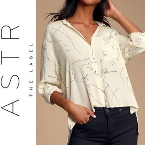 🆕 ASTR the Label Cream Print Button-Up Top